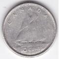 10 центов. 1962 г. Канада. Парусный корабль. Серебро. 9-4-466