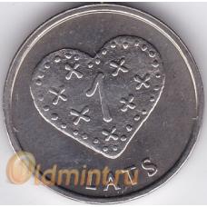 1 лат. 2011 г. Латвия. Сердце. 6-2-291