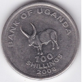 100 шиллингов. 2008 г. Уганда. 6-2-302