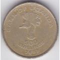 500 шиллингов. 2003 г. Уганда. Венценосный журавль. 6-2-304