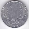 """1 пфенниг. 1975 г. ГДР. """"A"""". 6-2-326"""