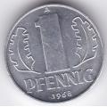 """1 пфенниг. 1968 г. ГДР. """"A"""". 6-2-420"""