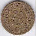 20 миллимов. 1960 г. Тунис. 6-3-162