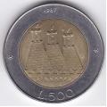 500 лир. 1987 г. Сан-Марино. 6-4-345