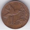1 цент. 1981 г. Тринидад и Тобаго. Колибри. 12-1-131