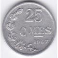 25 сентимов. 1967 г. Люксембург. 12-2-326