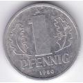 """1 пфенниг. 1980 г. ГДР. """"A"""". 12-4-201"""