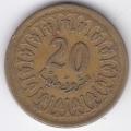 20 миллимов. 1960 г. Тунис. 4-4-392