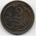2 геллера. 1907 г. Австро-Венгрия. 8-3-392