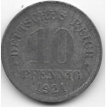 10 пфеннигов. 1921 г. Германия. 5-1-419