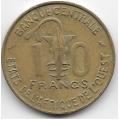 10 франков. 1966 г. Западная Африка. 16-5-372