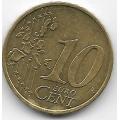 """10 евроцентов. 2002 г. Германия. """"J"""". 7-3-495"""