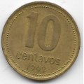 10 сентаво. 1992 г. Аргентина. 7-7-190
