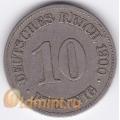 """10 пфеннигов. 1900 г. Германия. """"E"""". 4-5-176"""