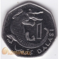 1 даласи. 1998 г. Гамбия. Африканский узкорылый крокодил. 18-1-22