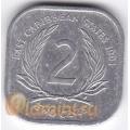 2 цента. 1991 г. Карибские острова. 11-2-21