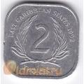 2 цента. 1992 г. Карибские острова. 11-2-22