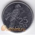 25 центов. 1993 г. Сейшелы. Черный попугай. 18-5-54