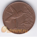 1 цент. 1990 г. Тринидад и Тобаго. Колибри. 18-4-141