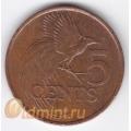 5 центов. 1998 г. Тринидад и Тобаго. Райская птица. 8-1-392